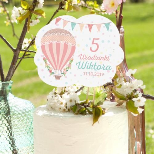 TOPPER na tort Roczek i Urodziny Balloons Z IMIENIEM