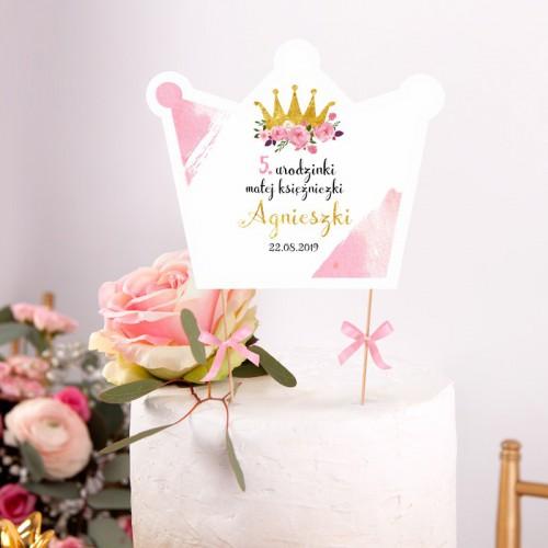 TOPPER na tort urodzinowy Mała Księżniczka Z IMIENIEM