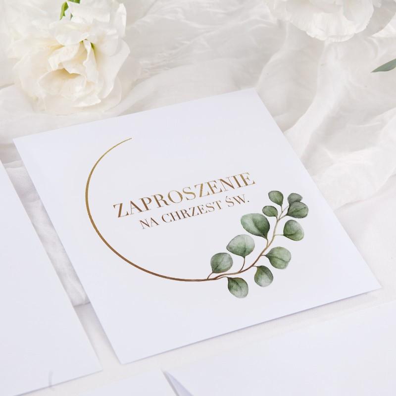 Zaproszenie Na Chrzest Personalizowane Eukaliptus Koperta Z