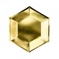 TALERZYKI papierowe HEKSAGON złote 20cm 6szt