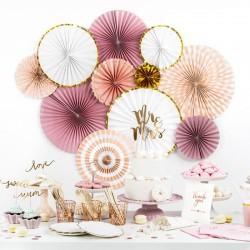 ROZETY dekoracyjne Pink&Gold 3szt LUX