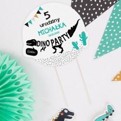 TOPPER na tort urodzinowy DinoParty Z IMIENIEM