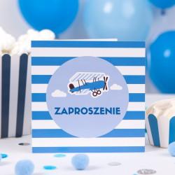 ZAPROSZENIA na Urodzinki dziecka Mały Pilot 10szt (+kolorowe koperty)
