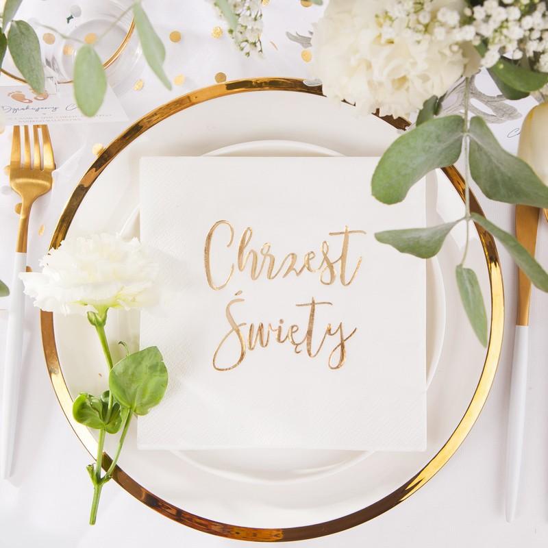 Serwetki na Chrzest ze złotym napisem - najmodniejsza dekoracja stołu