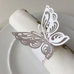 OBRĄCZKI NA SERWETKI Ażurowe Motyle 10szt