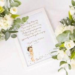 MODLITWA pamiątka Chrztu Świętego w ramie dla dziewczynki Z IMIENIEM