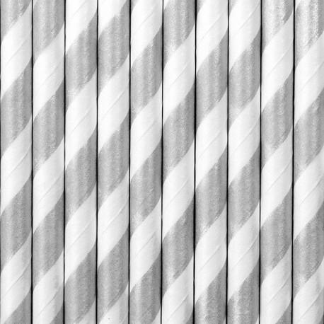 SŁOMKI papierowe w paski 10szt SREBRNE