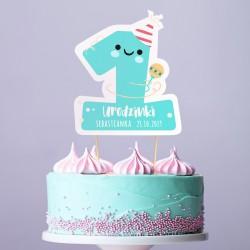 TOPPER na tort urodzinowy dla chłopca Z IMIENIEM Cyfra 1