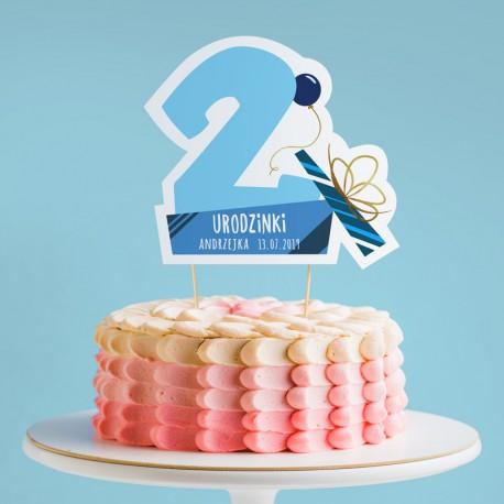 TOPPER na tort urodzinowy dla chłopca Z IMIENIEM Cyfra 2