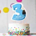 TOPPER na tort urodzinowy dla chłopca Z IMIENIEM Cyfra 3