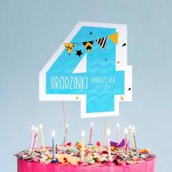 TOPPER na tort urodzinowy dla chłopca Z IMIENIEM Cyfra 4
