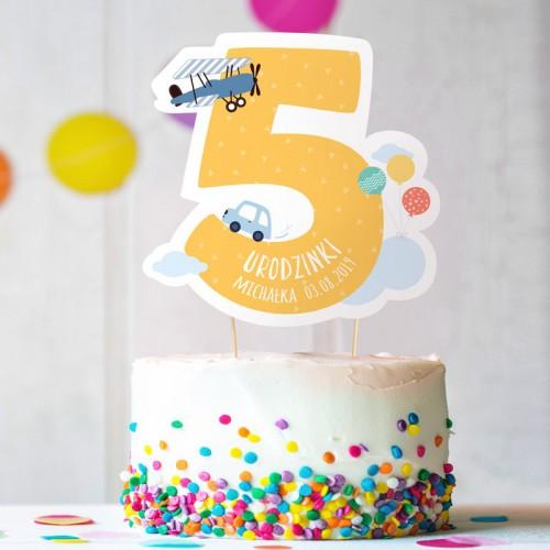 TOPPER na tort urodzinowy dla chłopca Z IMIENIEM Cyfra 5