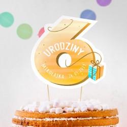 TOPPER na tort urodzinowy dla chłopca Z IMIENIEM Cyfra 6