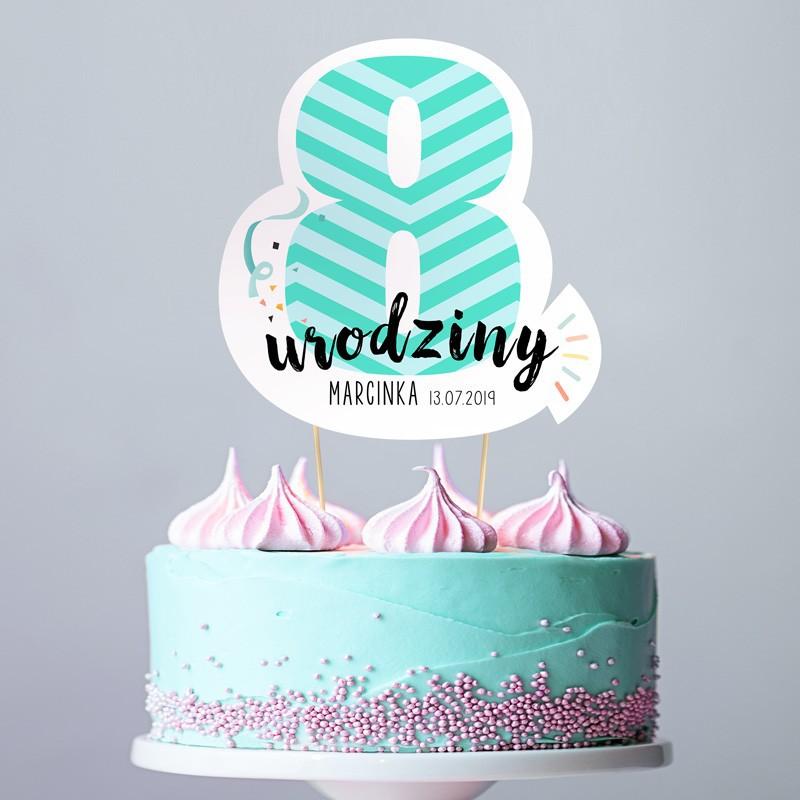 TOPPER na tort urodzinowy dla chłopca Z IMIENIEM Cyfra 8