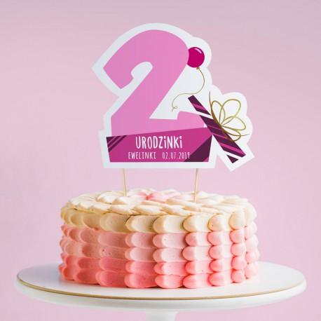 TOPPER na tort urodzinowy dla dziewczynki Z IMIENIEM Cyfra 2
