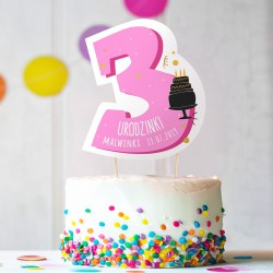 TOPPER na tort urodzinowy dla dziewczynki Z IMIENIEM Cyfra 3