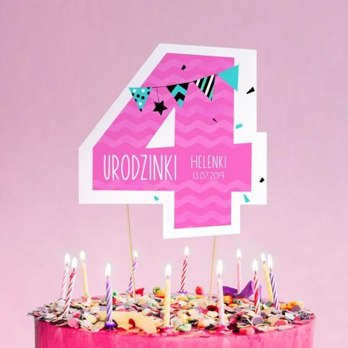 TOPPER na tort urodzinowy dla dziewczynki Z IMIENIEM Cyfra 4
