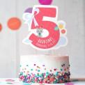 TOPPER na tort urodzinowy dla dziewczynki Z IMIENIEM Cyfra 5