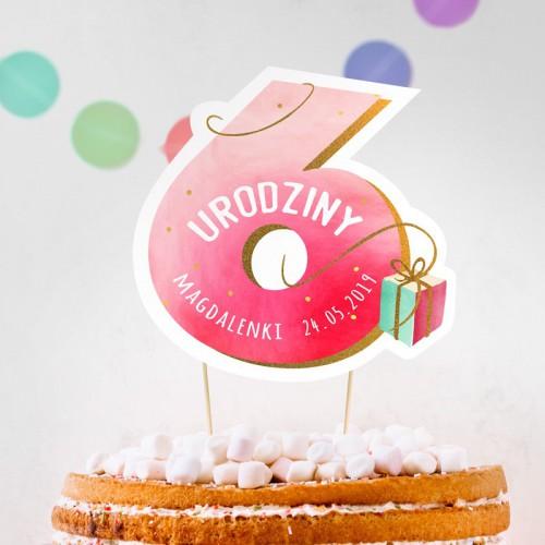 TOPPER na tort urodzinowy dla dziewczynki Z IMIENIEM Cyfra 6