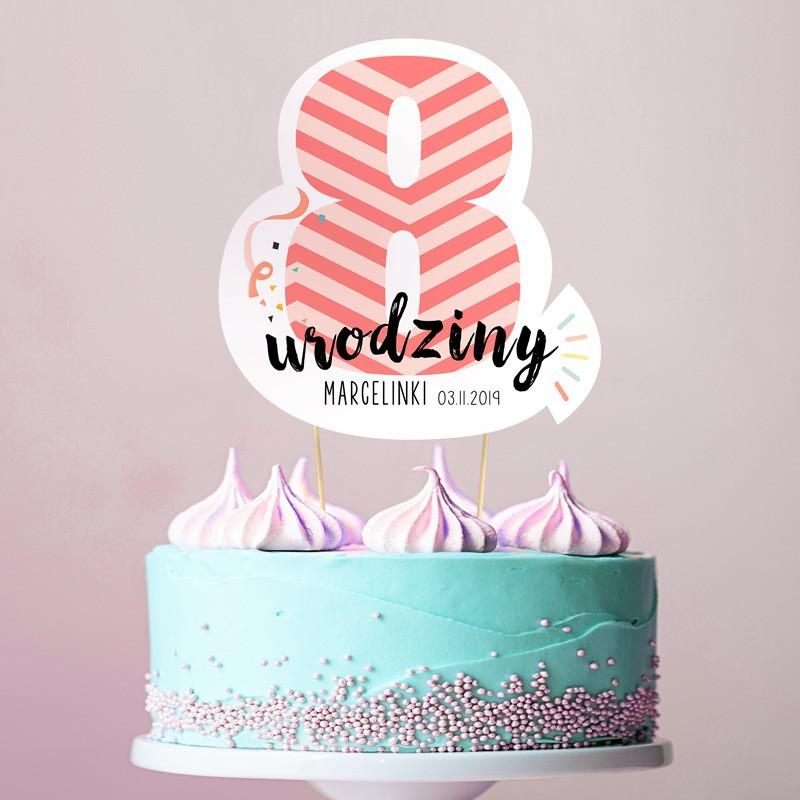 TOPPER na tort urodzinowy dla dziewczynki Z IMIENIEM Cyfra 8