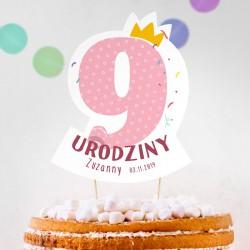 TOPPER na tort urodzinowy dla dziewczynki Z IMIENIEM Cyfra 9