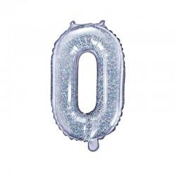 BALON foliowy Cyfra 0 35 Holograficzny