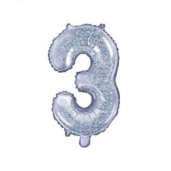 BALON foliowy Cyfra 3 35cm Holograficzny