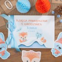 KSIĘGA pamiątkowa na Roczek i Urodziny Liski Z IMIENIEM (+błękitna wstążka)