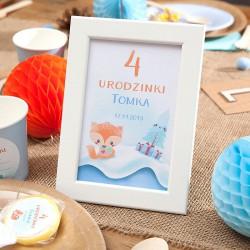 DEKORACJA stołu na Roczek i Urodziny Tabliczka Liski (+ramka)