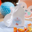 PUDEŁECZKA serca na Roczek i Urodziny dziecka Liski (+etykiety z imieniem+białe wstążki) 10szt