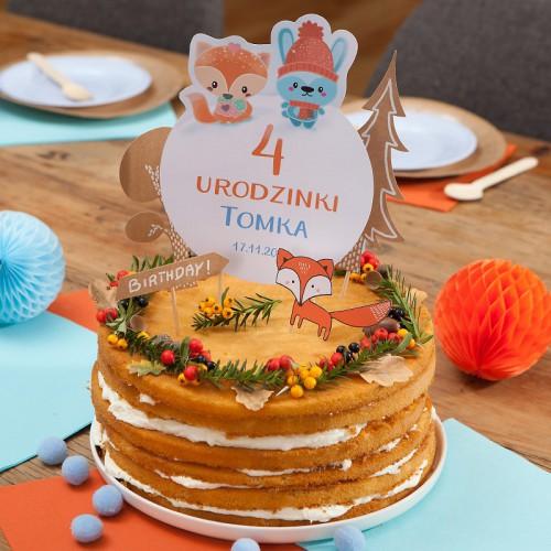 TOPPER na tort Roczek i Urodziny Liski Z IMIENIEM