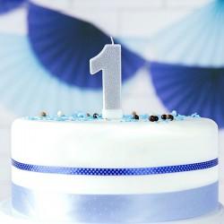 ŚWIECZKA urodzinowa Roczek SREBRNA