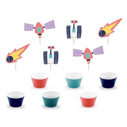 FOREMKI papilotki papierowe na muffinki + TOPPERY Kosmos zestaw 12szt