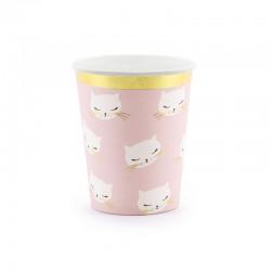 KUBECZKI papierowe jasnoróżowe Kotek 6szt