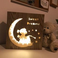 RAMKA drewniania Sweet Dreams + lampki led