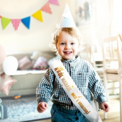 SZARFA na Roczek i Urodziny dziecka ZŁOTY NAPIS BŁYSK dla Chłopca
