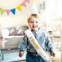 SZARFA na Roczek i Urodziny Chłopca ZŁOTY NAPIS BŁYSK dla Gości