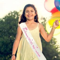 SZARFA na Roczek i Urodziny dziecka RÓŻOWY NAPIS dla Dziewczynki