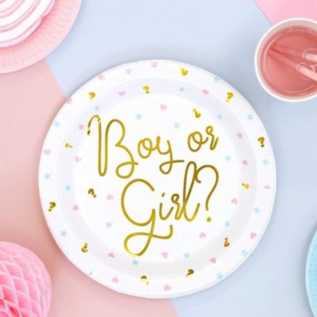 TALERZYKI na Baby Shower Boy or Girl 23cm 6szt