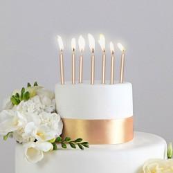 ŚWIECZKI na tort 6szt ZŁOTE 6,5cm