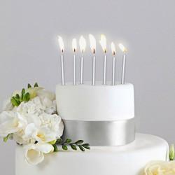 ŚWIECZKI na tort  12szt SREBRNE