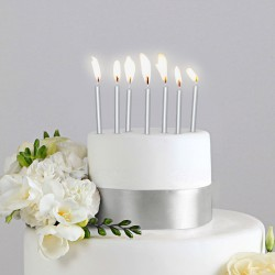 ŚWIECZKI na tort 6szt SREBRNE 6cm