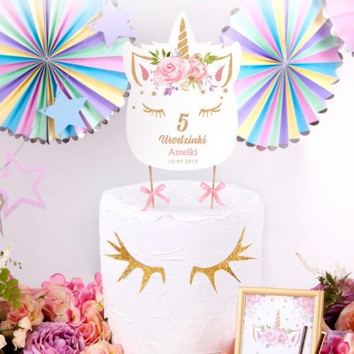 TOPPER na tort Roczek i Urodziny Unicorn Jednorożec Z IMIENIEM