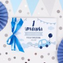 KSIĘGA pamiątkowa na Roczek i Urodziny Autka Z IMIENIEM (+błękitna i niebieska wstążka)