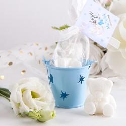 MISIU mydełko w wiadereczku na Chrzest Niebieskie (+bilecik z imieniem)