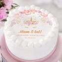 OPŁATEK na tort personalizowany na Roczek i Urodziny dziecka Unicorn Jednorożec Ø20cm