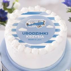 OPŁATEK na tort personalizowany na Roczek i Urodziny dziecka Samolocik Ø20cm
