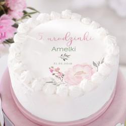 OPŁATEK na tort personalizowany na Roczek i Urodziny dziecka Lovely Peony Ø20cm