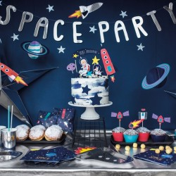 BANER Space Party Astronauta 13x96cm SREBRNY