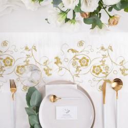 BIEŻNIK organza biała Złote Kwiaty 36cmx9m